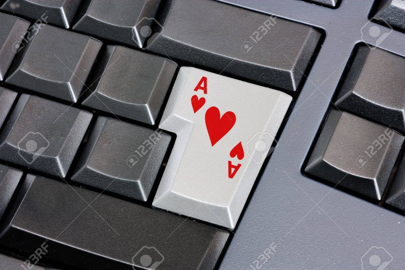 Ace Of Hearts On Computer Keyboard On Line Search Of Lover Stock