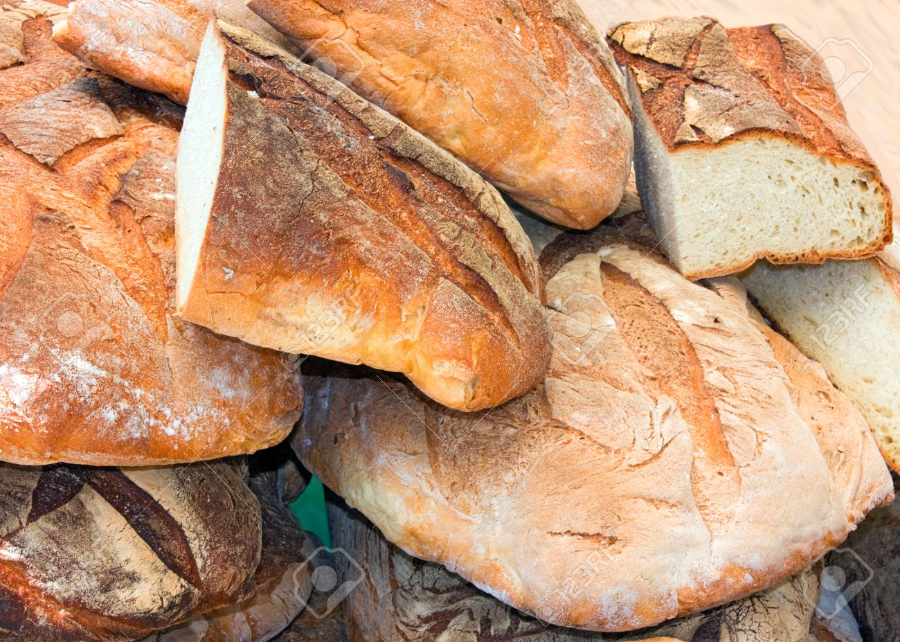 Large Pieces Of Italian Bread At Natural Leavening Exposure Bakery Market Traditional