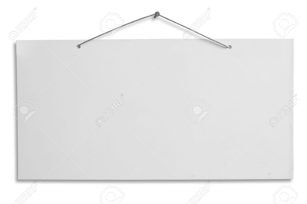 Hanging Pictures On Wire empty signboard, white blank lacquered aluminum sheet hanging