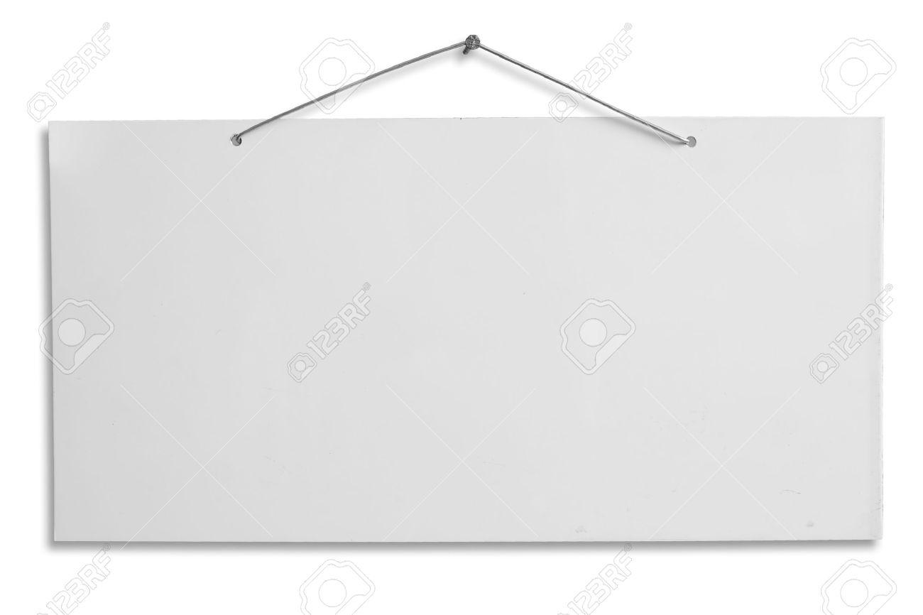 Leeren Schild, Weiße Leere Lackiertem Aluminium Blatt Hängenden Mit ...