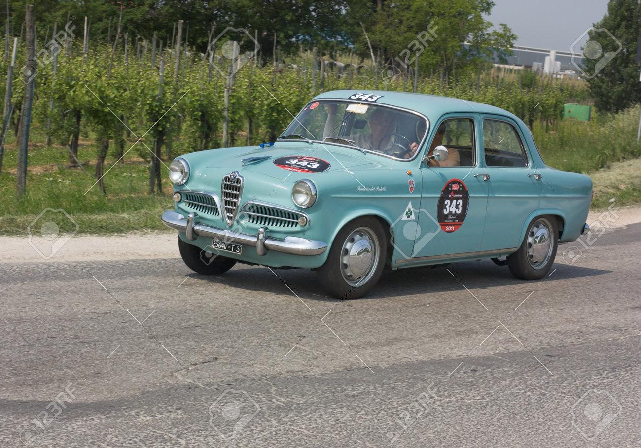FORLI', ITALY - MAY 13: Maurizio Pradella and Antonio Belotti drives a Alfa Romeo Giulietta (1956) in stage Bologna-Roma of the