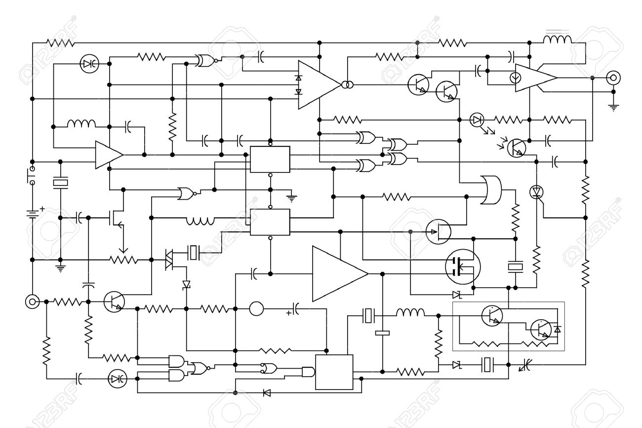 schematic diagram   project of electronic circuit   graphic design    stock photo   schematic diagram   project of electronic circuit   graphic design of electronic components and semiconductor