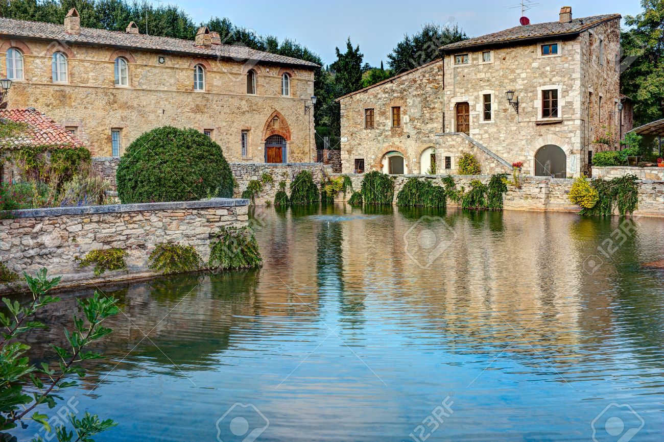 stock photo old thermal baths in the medieval village bagno vignoni tuscany italy spa bassin in the antique italian town