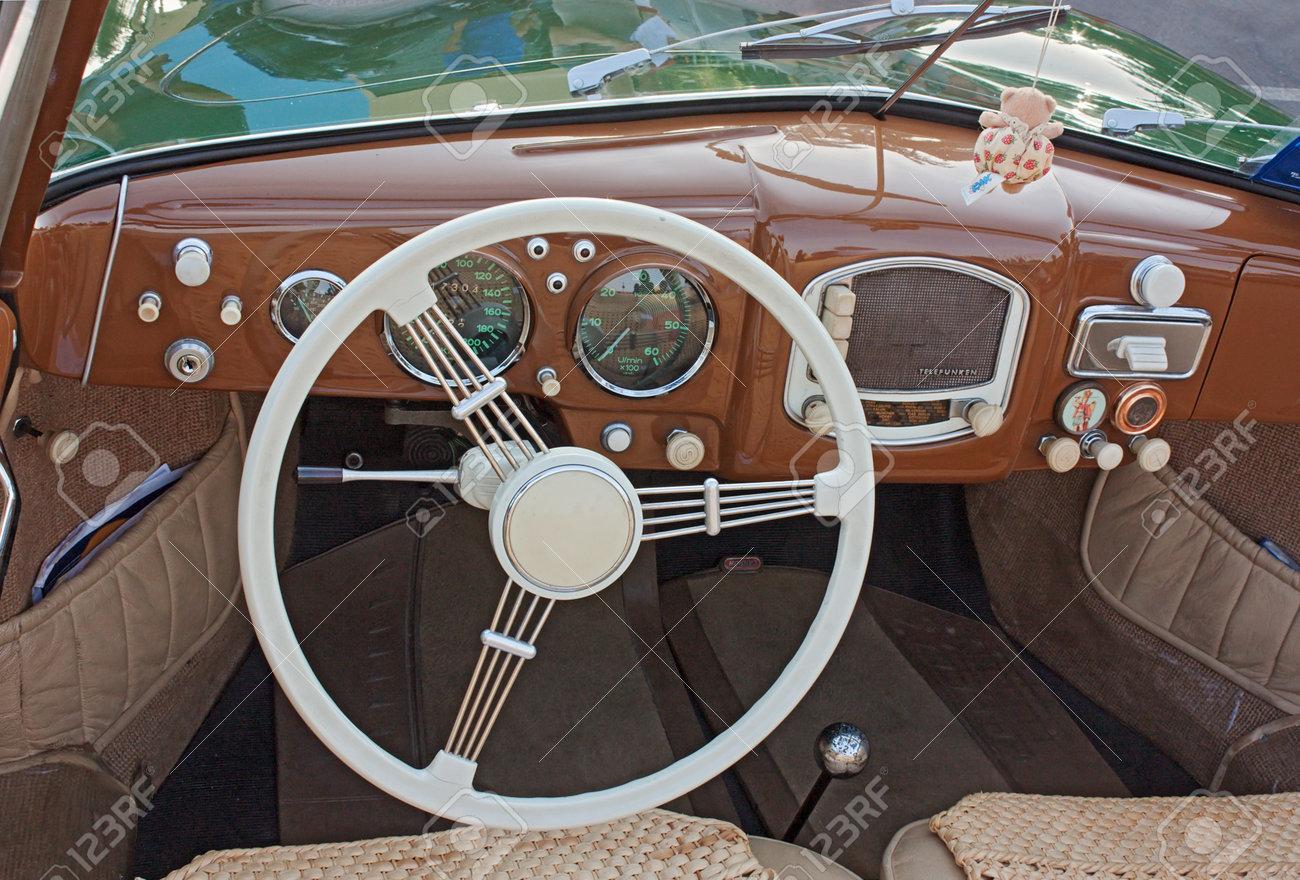 Classic Car Interior Dashboard Of An Old Porsche 356 A 1952