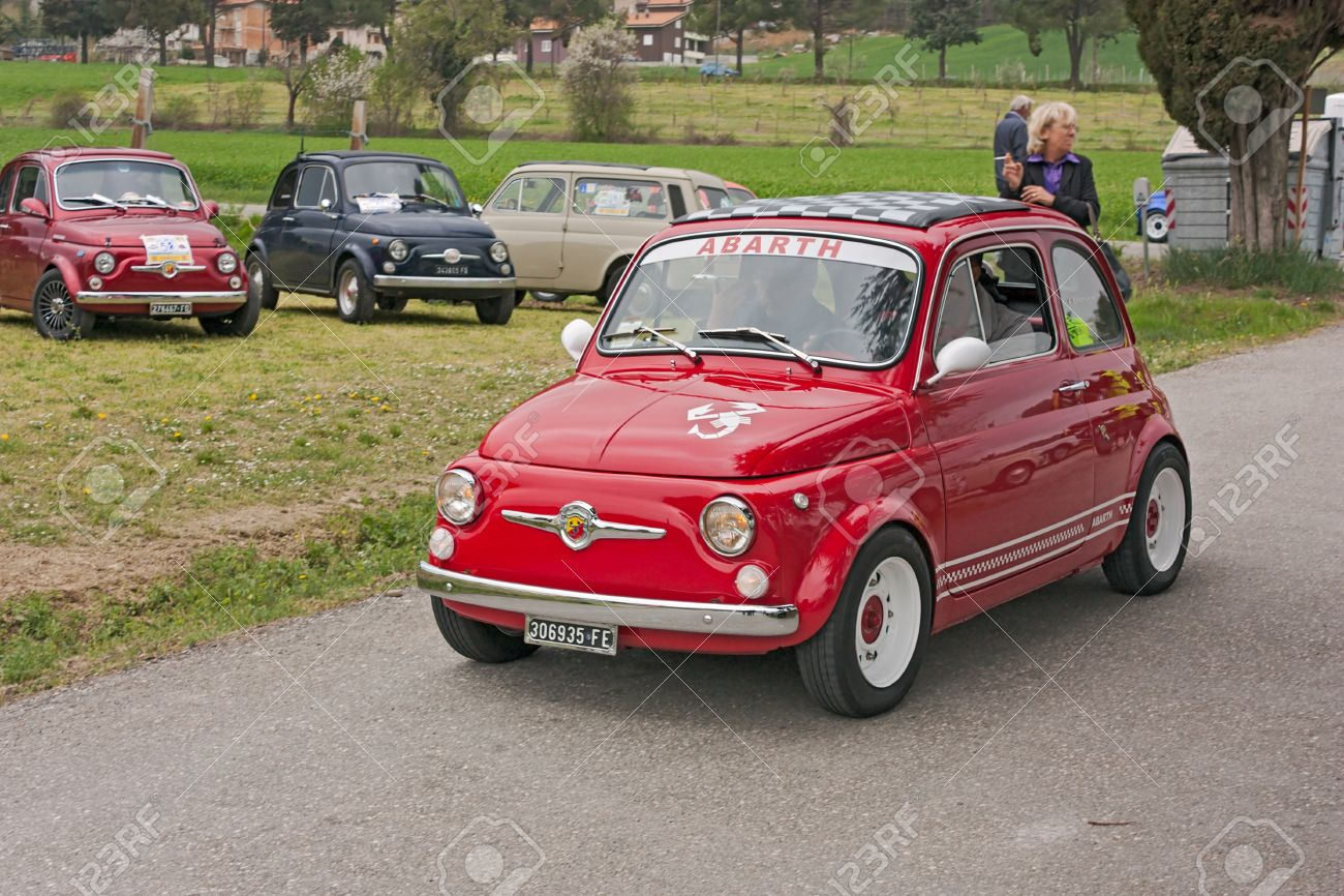 Vintage Italian Sports Car Fiat 500 Abarth At Fiat 500 Day Stock