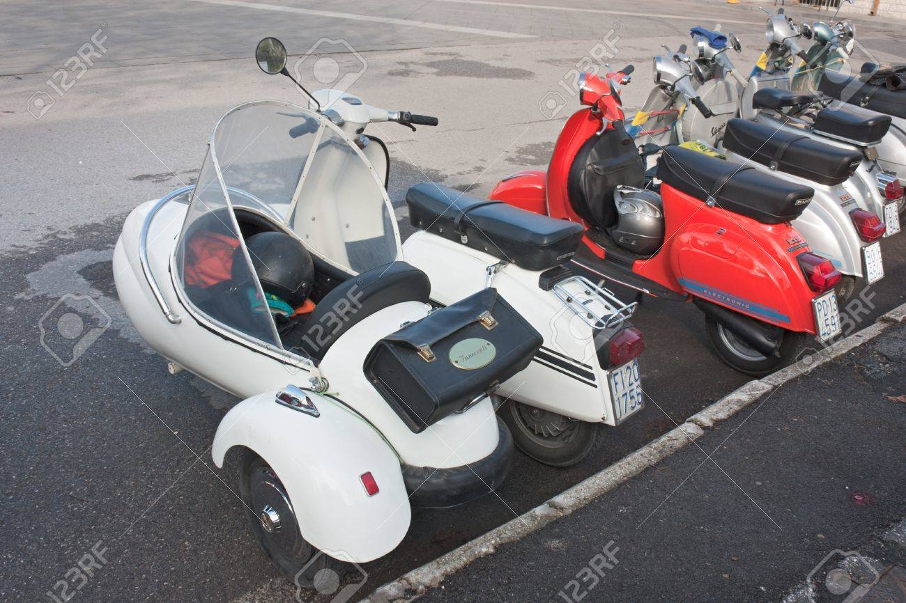 Vintage Lambretta Sidecar And Italian Scooters At Motorcycle