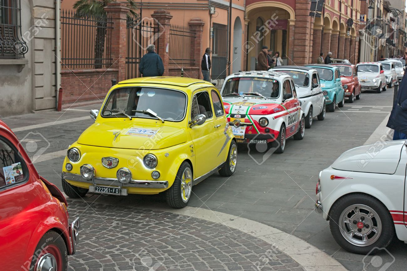 Old Italian Small Cars At Fiat 500 Day Of Forlimpopoli Rally