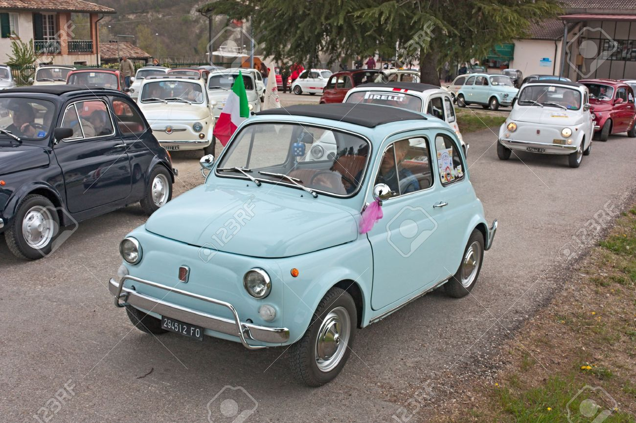 Old Italian Small Cars At Fiat 500 Day Of Forlimpopoli, Rally ...