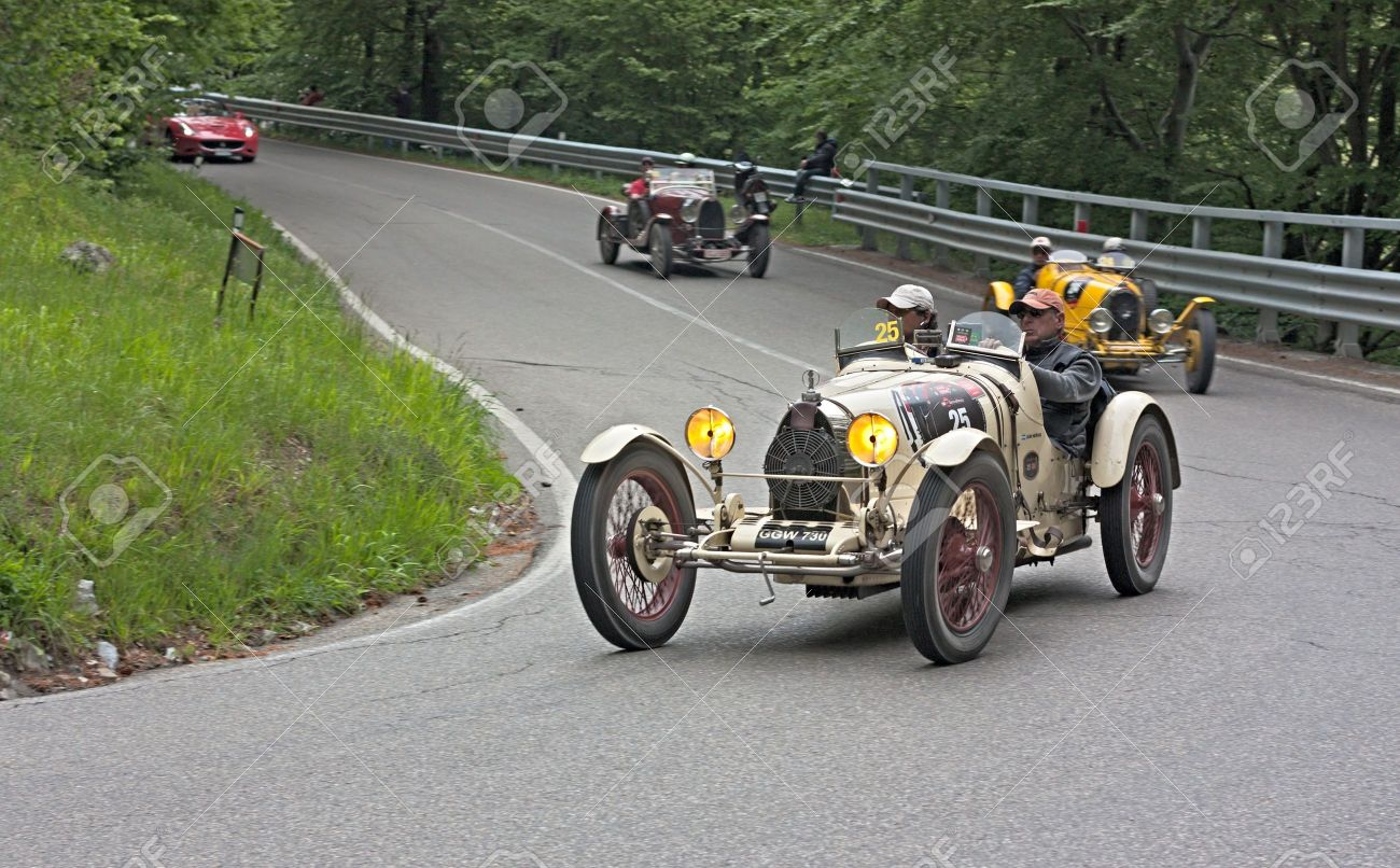 An Old Racing Car Bugatti Type 35 A (1926) Runs In Rally Mille ...