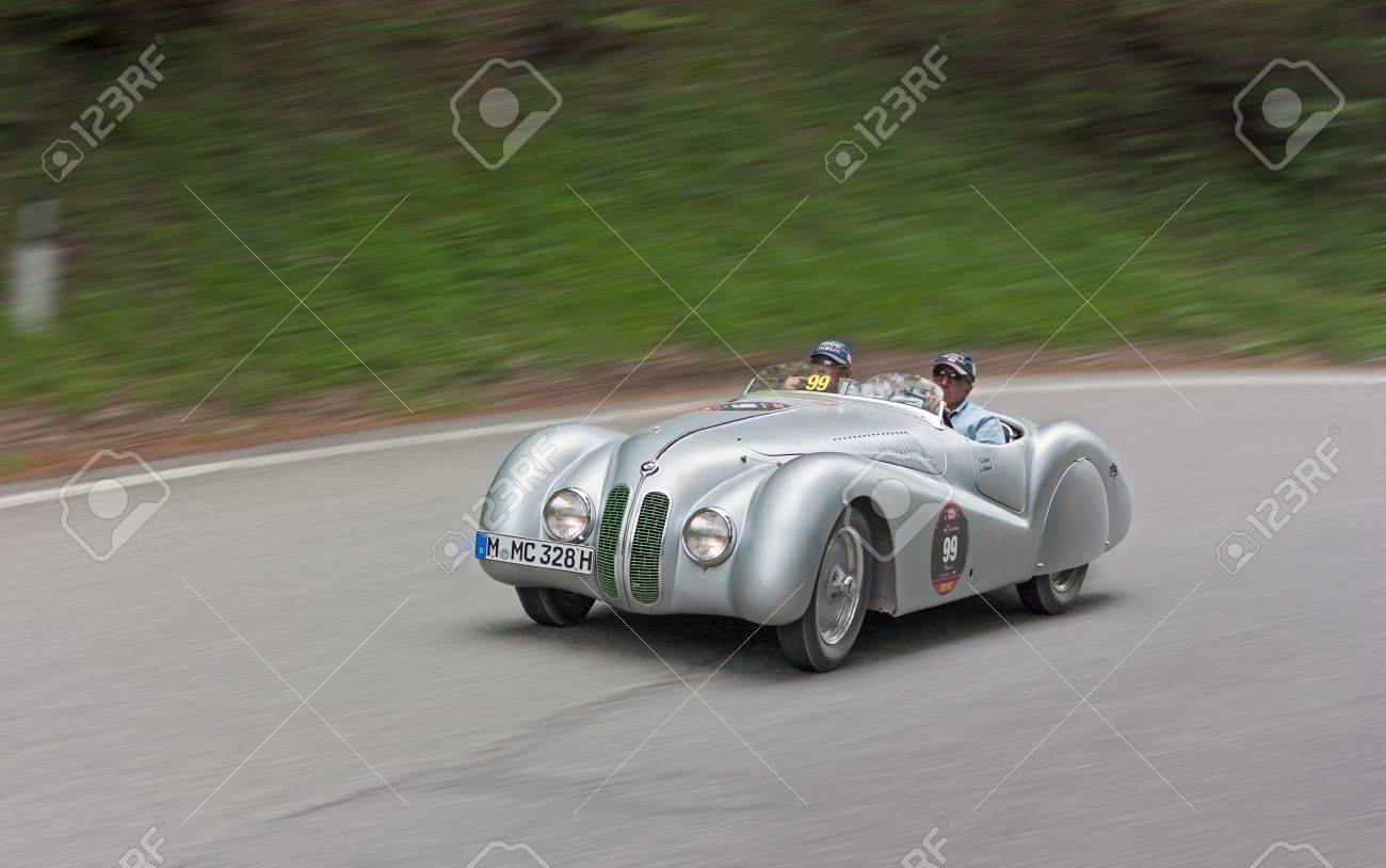 An Old Racing Car BMW 328 Mille Miglia Roadster (1939) Runs In Rally ...