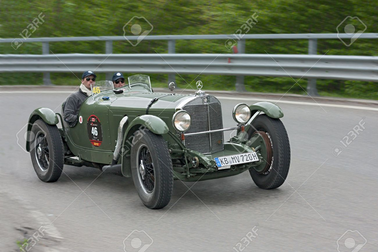 An Old Racing Car Mercedes Benz 720 SSK (1929) Runs In Rally.. Stock ...
