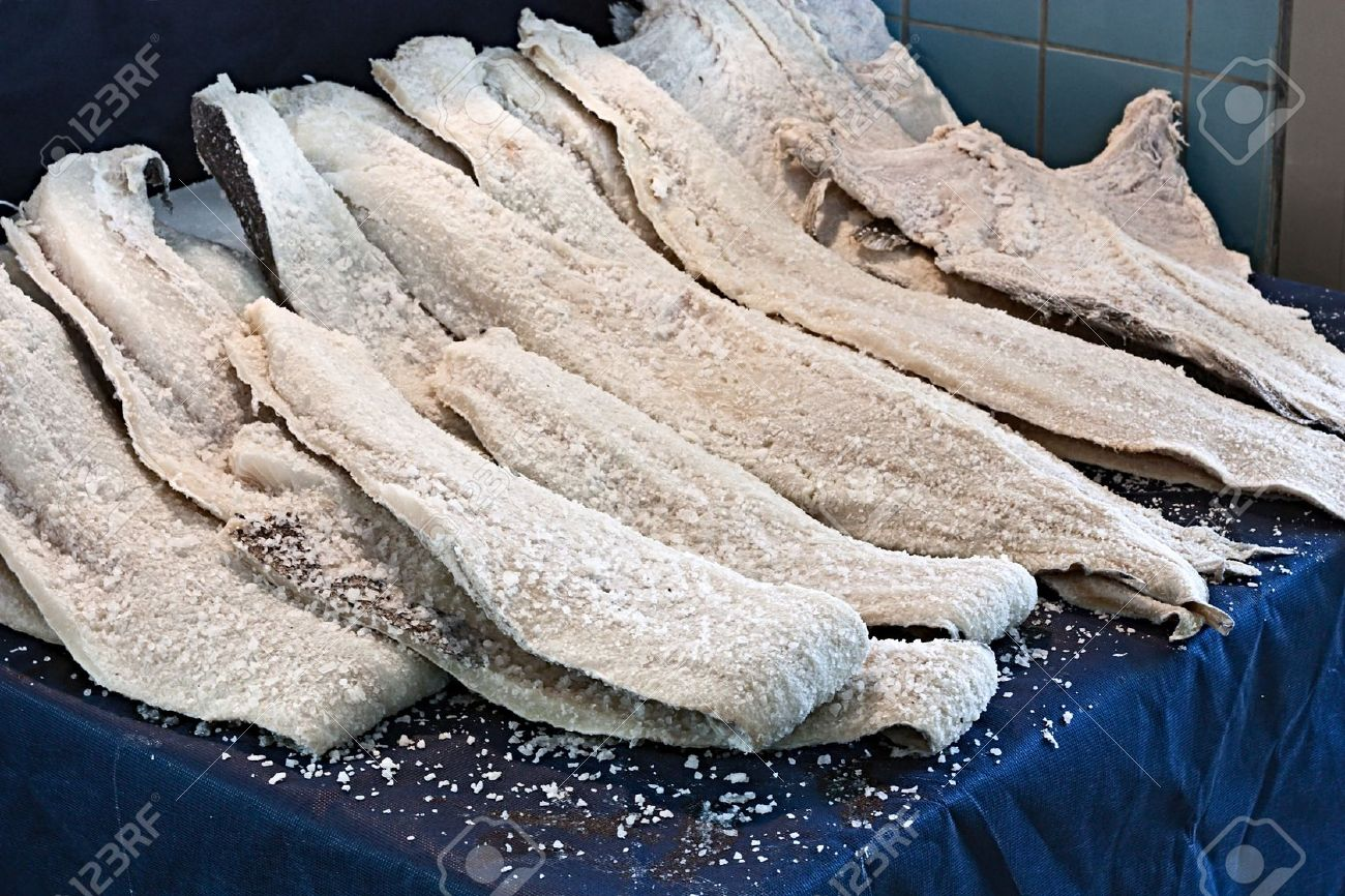 Dried Salted Cod, Fillets Of Fish Preserved In Salt Stock Photo ...