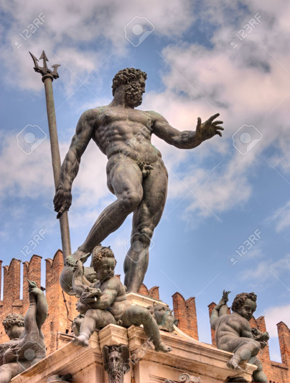 The Antique Statue Of Neptune, The God Of Water And The Sea In ...