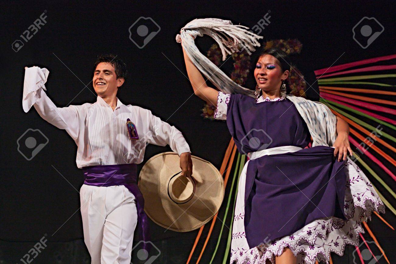 ensemble Imagenes del Peru' - couple of peruvian dancers greets the public after a performance of traditional dance at International folk festival on August 5, 2012 in Russi, Ravenna, Italy Stock Photo - 17063019