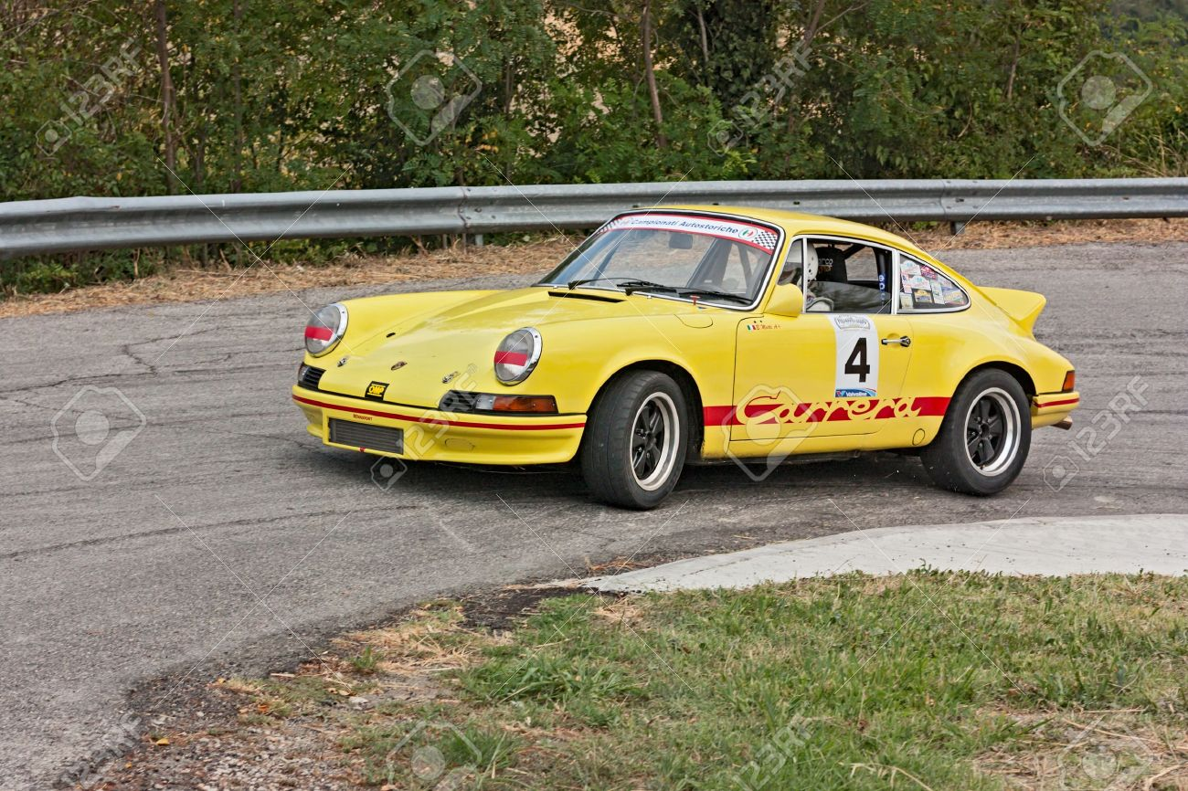 Vintage Porsche 911 T In Hairpin Bend At Uphill Race Rally Predappio
