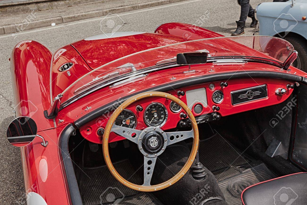 Classic Car Interior Dashboard Of An Old Racing Car Mg A