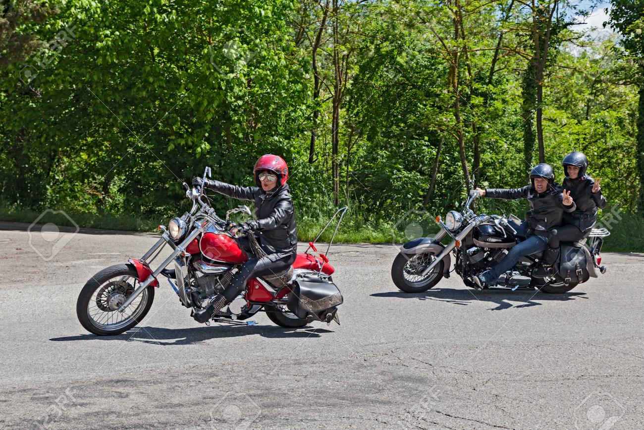 e54cfc67 Bikers Riding A Customized Motorbike Yamaha At Motorcycle Rally ...