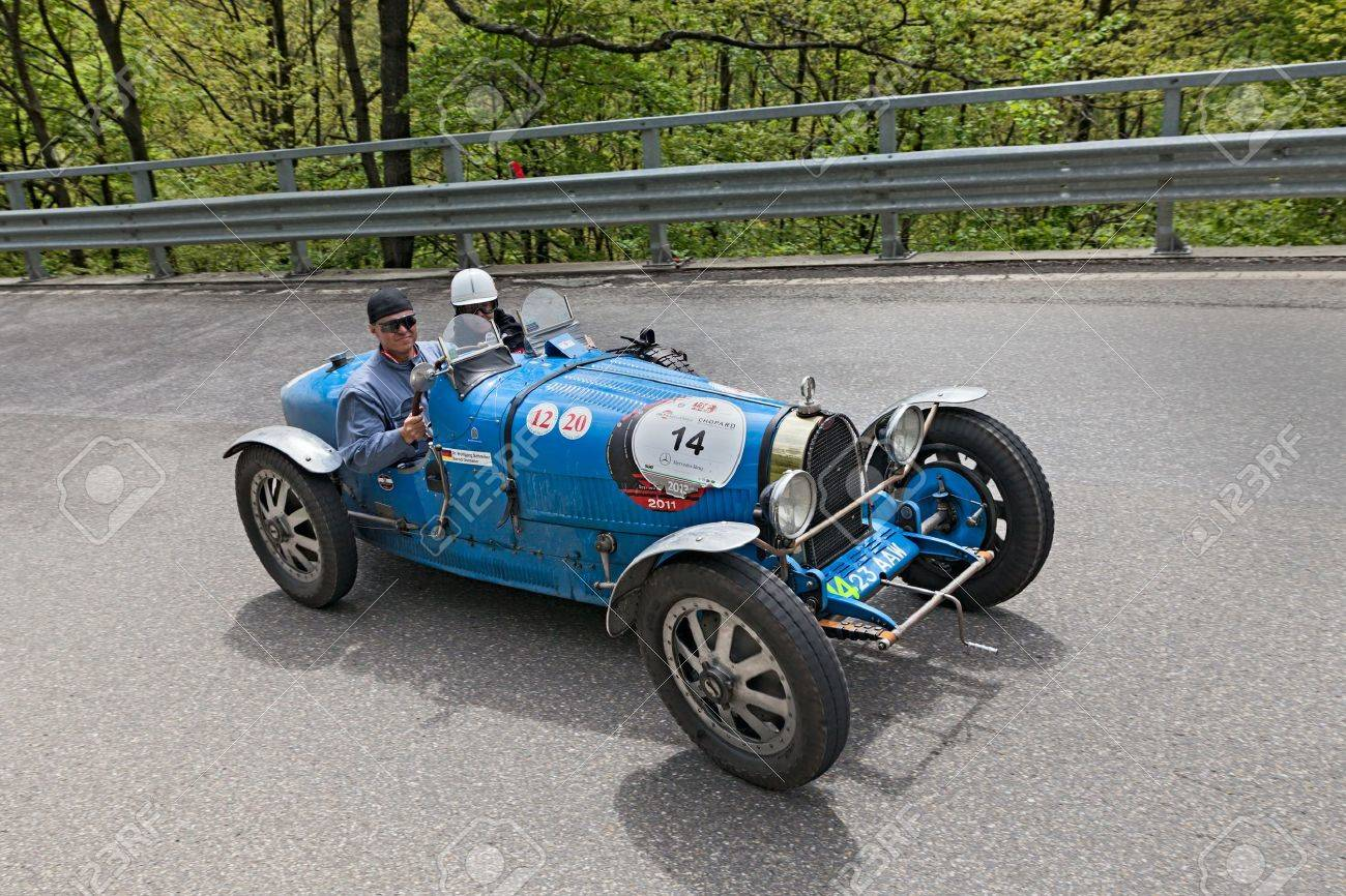 An Old Racing Car Bugatti T 35 T (1926) Runs In Rally Mille Miglia ...