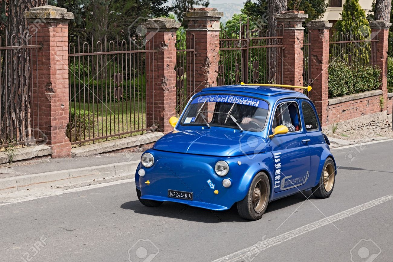 Vintage Italian Tuned Car Fiat 500 Running In Rally For Classic