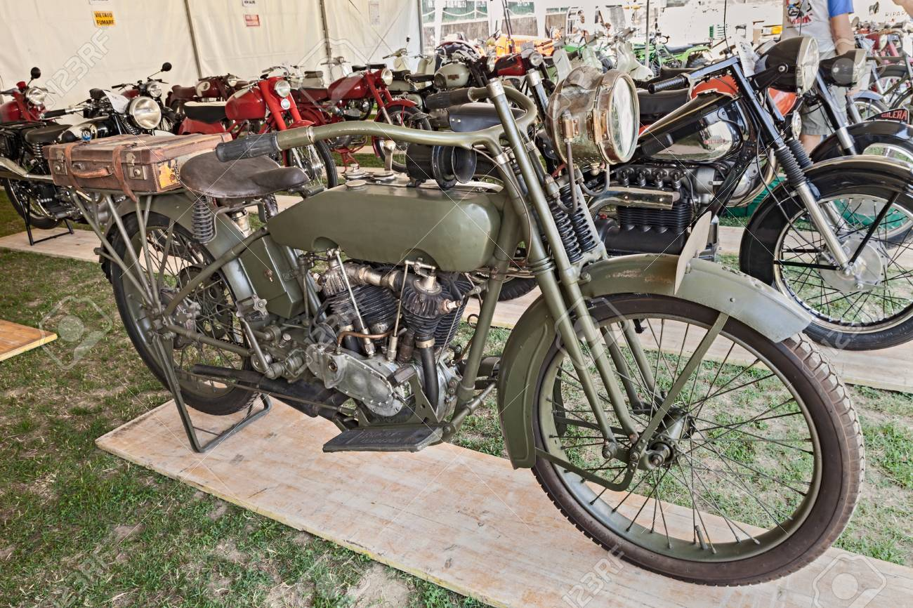 8e629be7 Old military motorcycle Harley Davidson 1000 J (1918) exposed at motorcycle  show of Motoclub