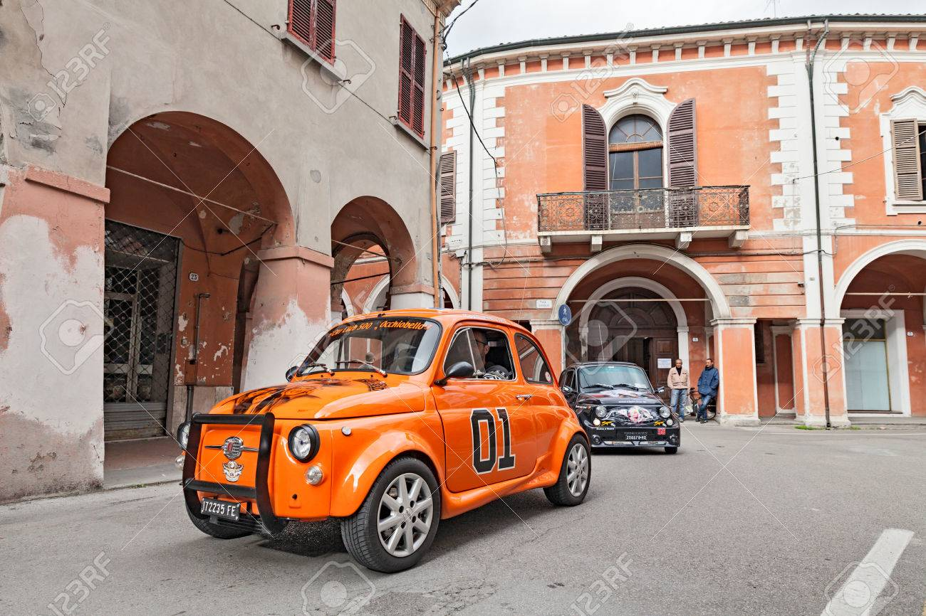 Tuned Vintage Car Fiat 500 Runs Along The City During The Rally