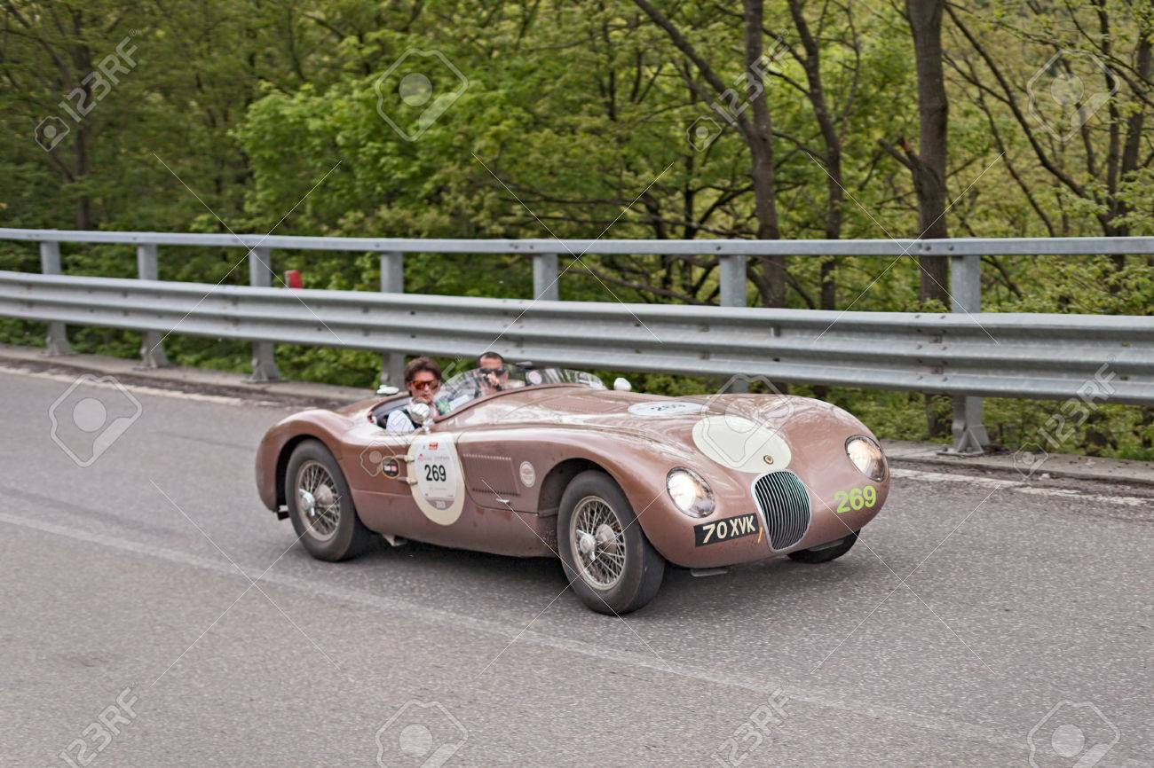Old Racing Car Jaguar C-Type 1952 In Rally Mille Miglia 2013 ...