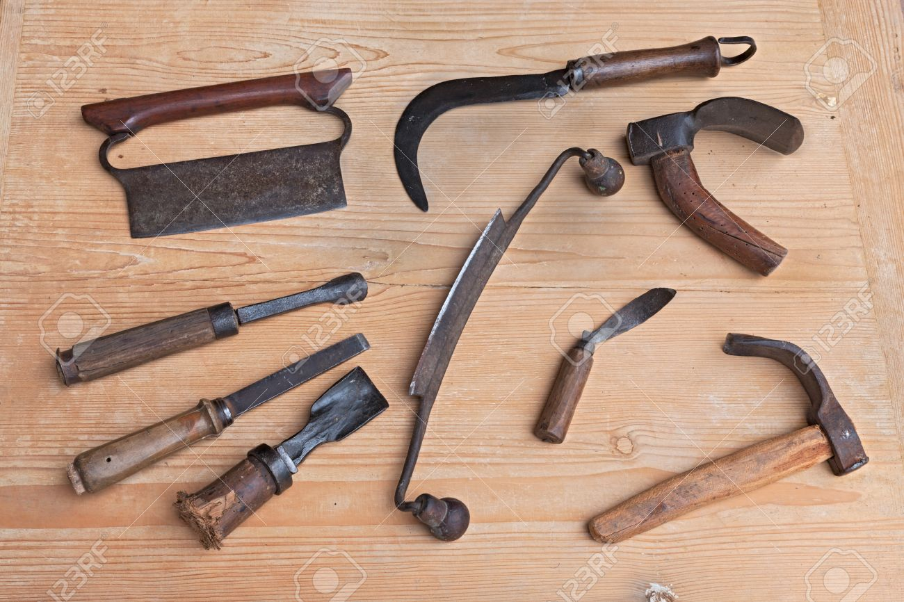 Old Tools Of Carpentry For Carving Smoothing Or Cutting Wood
