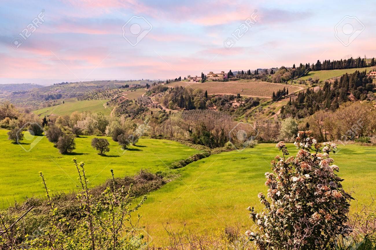Italian Landscape At Sunset Hills Of Tuscany Italy Stock Photo