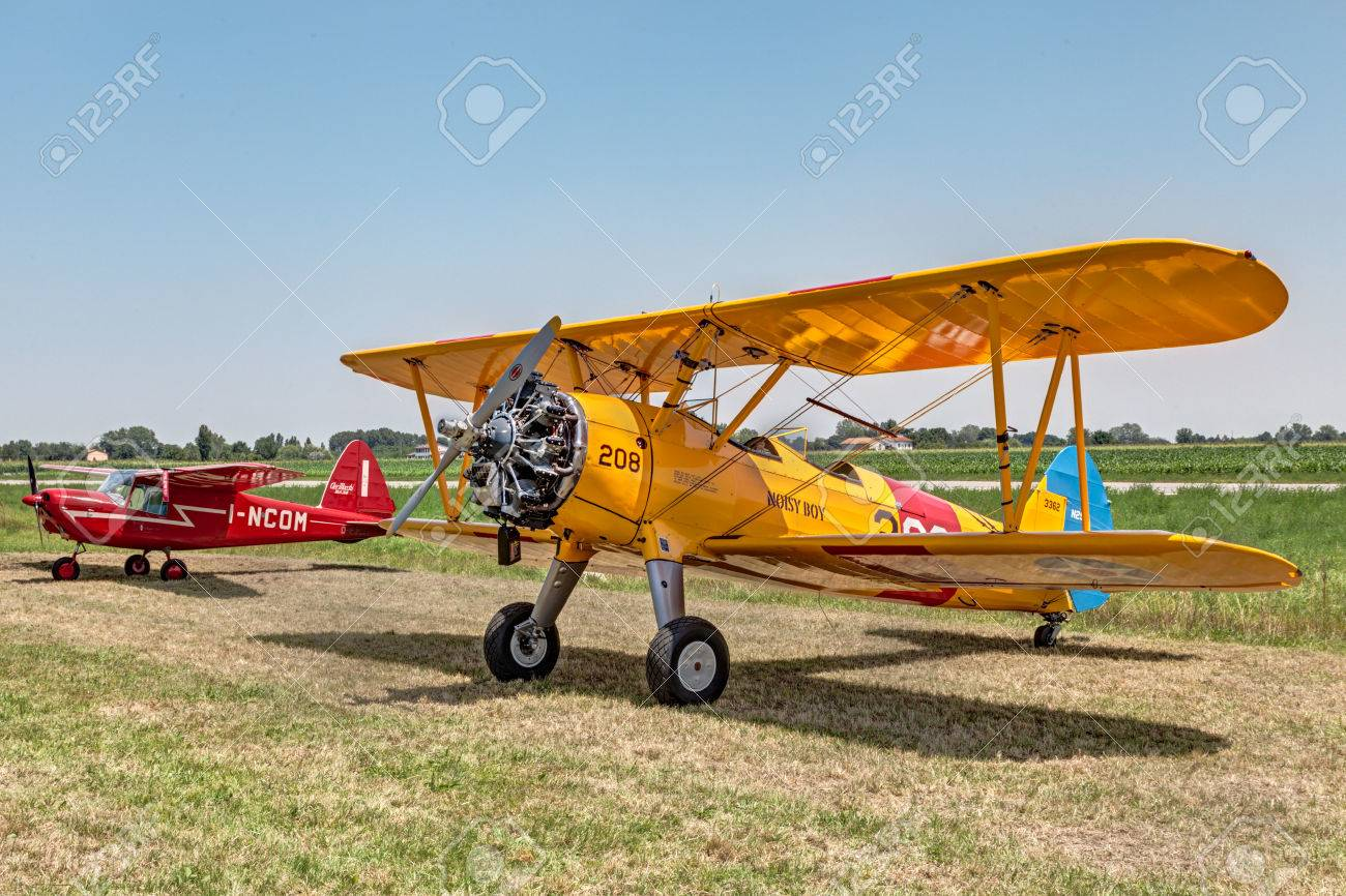 old biplane aircraft Boeing Stearman Model 75 N2S-1 1941 exposed