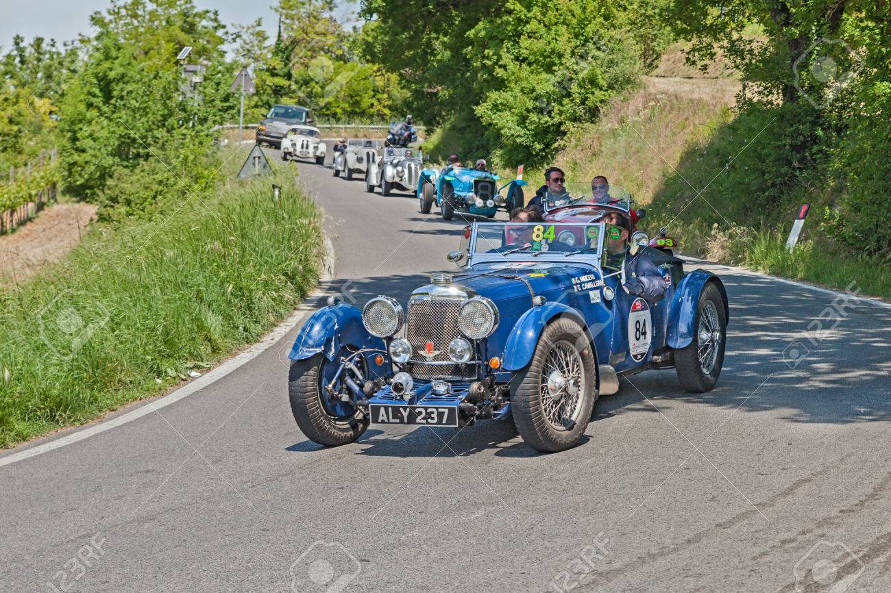 The Crew Moceri Cavalleri On An Old Racing Car Aston Martin Stock Photo Picture And Royalty Free Image Image 30040581