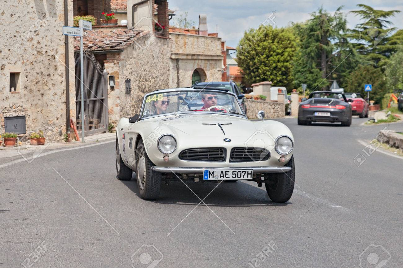 The Crew H Wortmann J Dralle On A Vintage BMW 507 Touring Sport