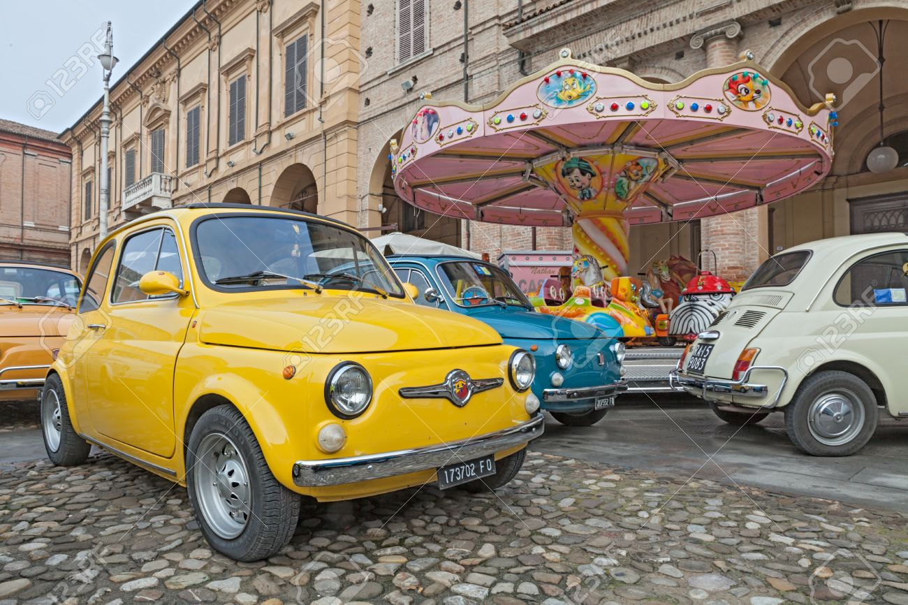 Vintage Italian Car Fiat Abarth Near A Carousel In Classic