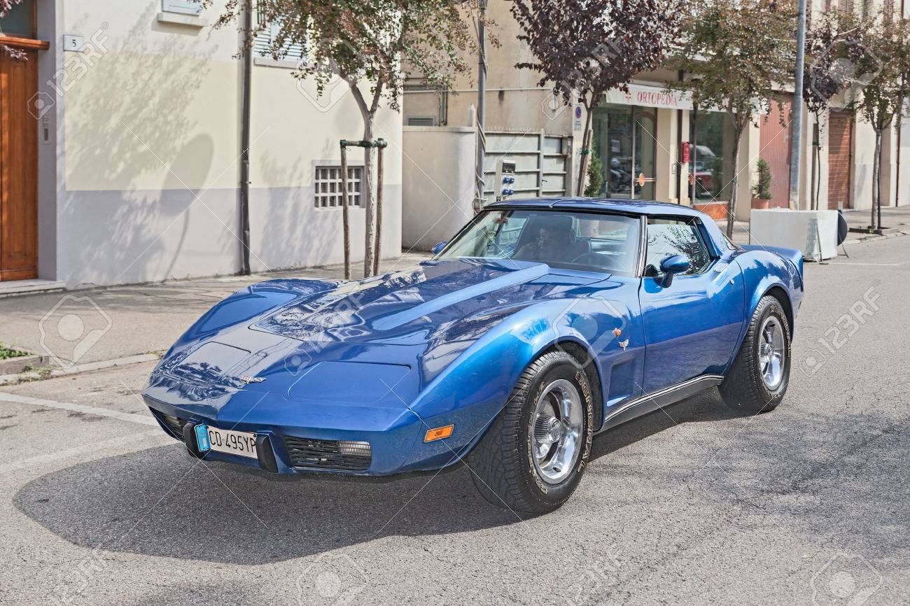 vintage sports car chevrolet corvette c3 in rally for classic
