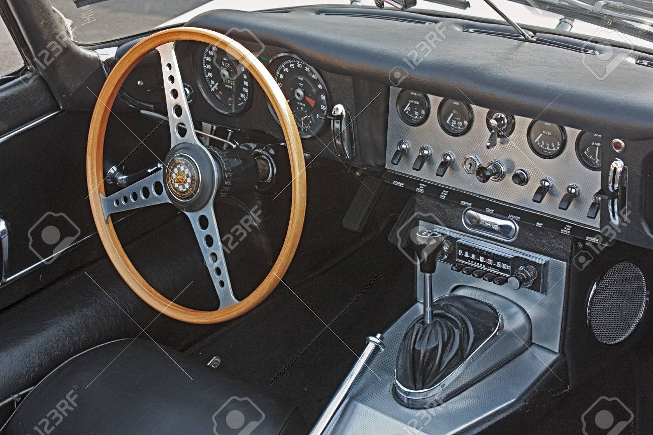 Classic Car Interior; Dashboard Of An Old Jaguar E Type Roadster In Vintage  Cars