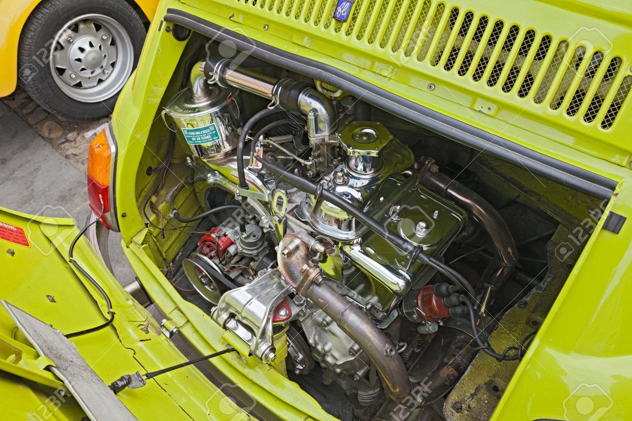 Shiny Chromed Engine Of A Tuned Vintage Italian Car Fiat