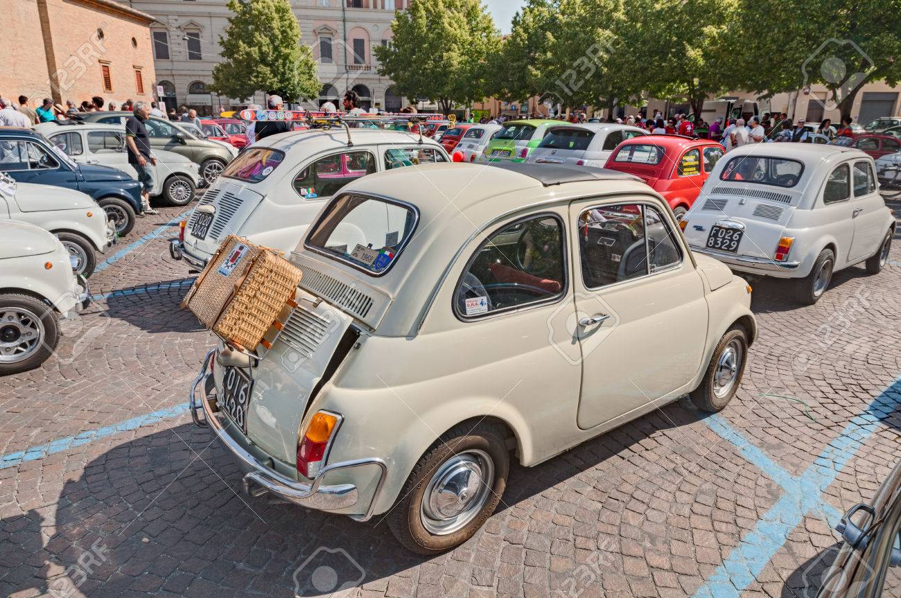 Vintage Italian City Car Fiat L With Wicker Suitcase