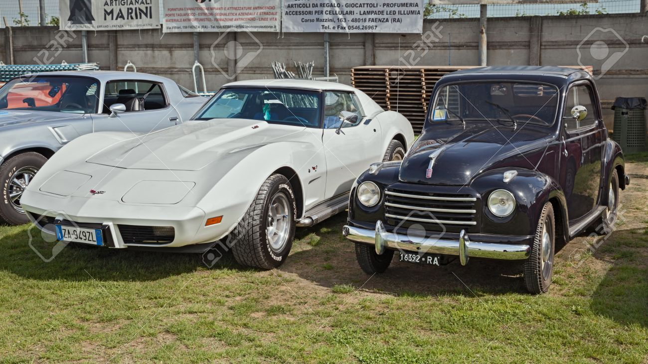 Vintage Cars Fiat 500 Topolino And Chevrolet Corvette C3 In Classic ...