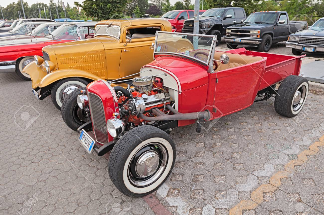 Classic American Hot Rod Pickup Ford In Rally Of Vintage And.. Stock ...