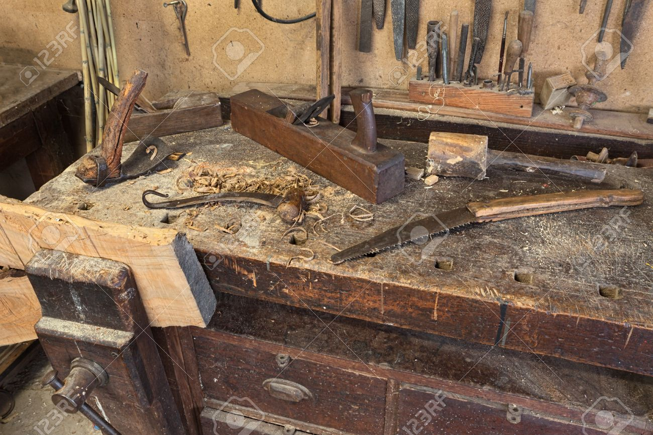 Woodworking Tools Of Antique Carpentry Old Bench With Carpenter S