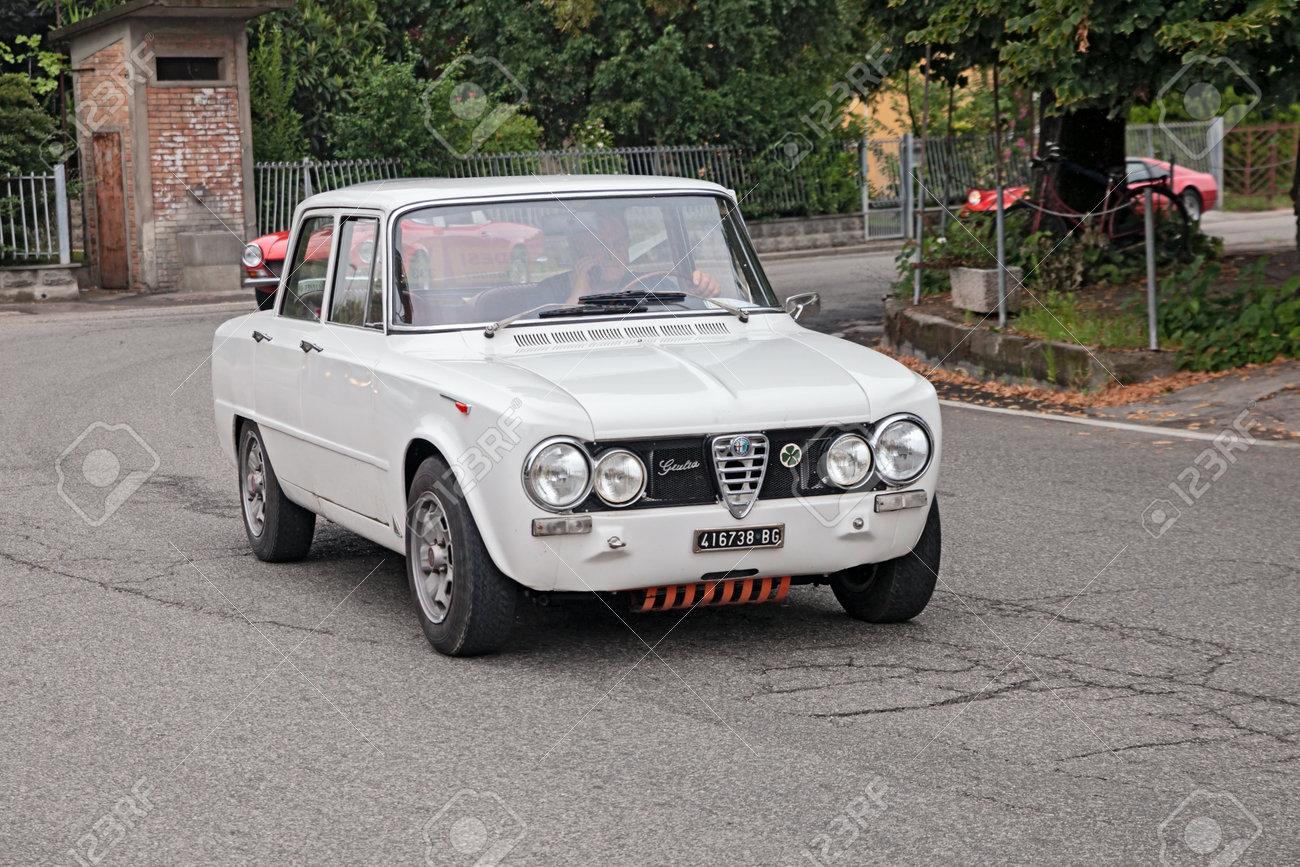 Vintage Alfa Romeo >> Driver On A Vintage Italian Car Alfa Romeo Giulia In Rally