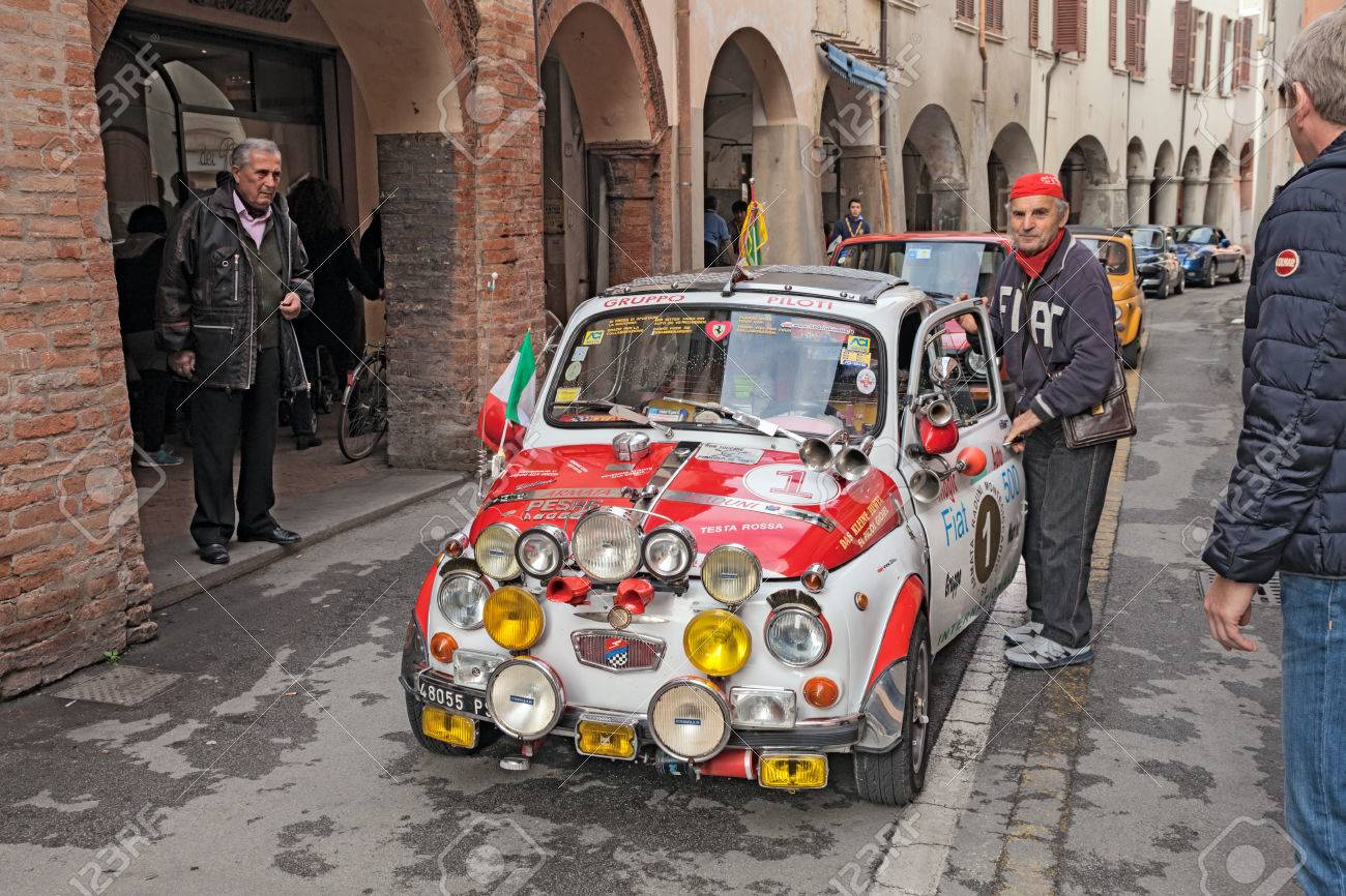 Driver With A Vintage Super Equipped Car Fiat 500 F 1965 In Classic