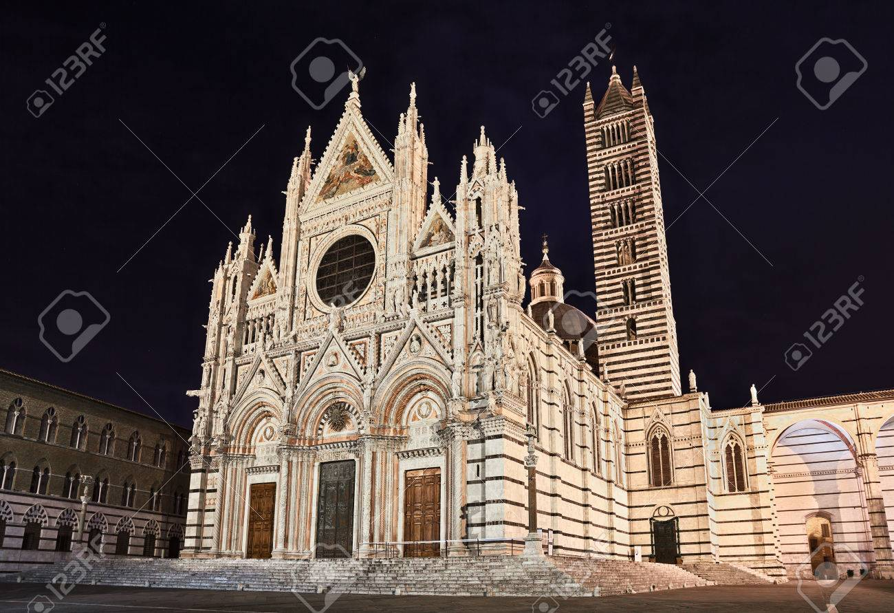 The Famous Italian Landmark Siena Cathedral At Night A Marvelous