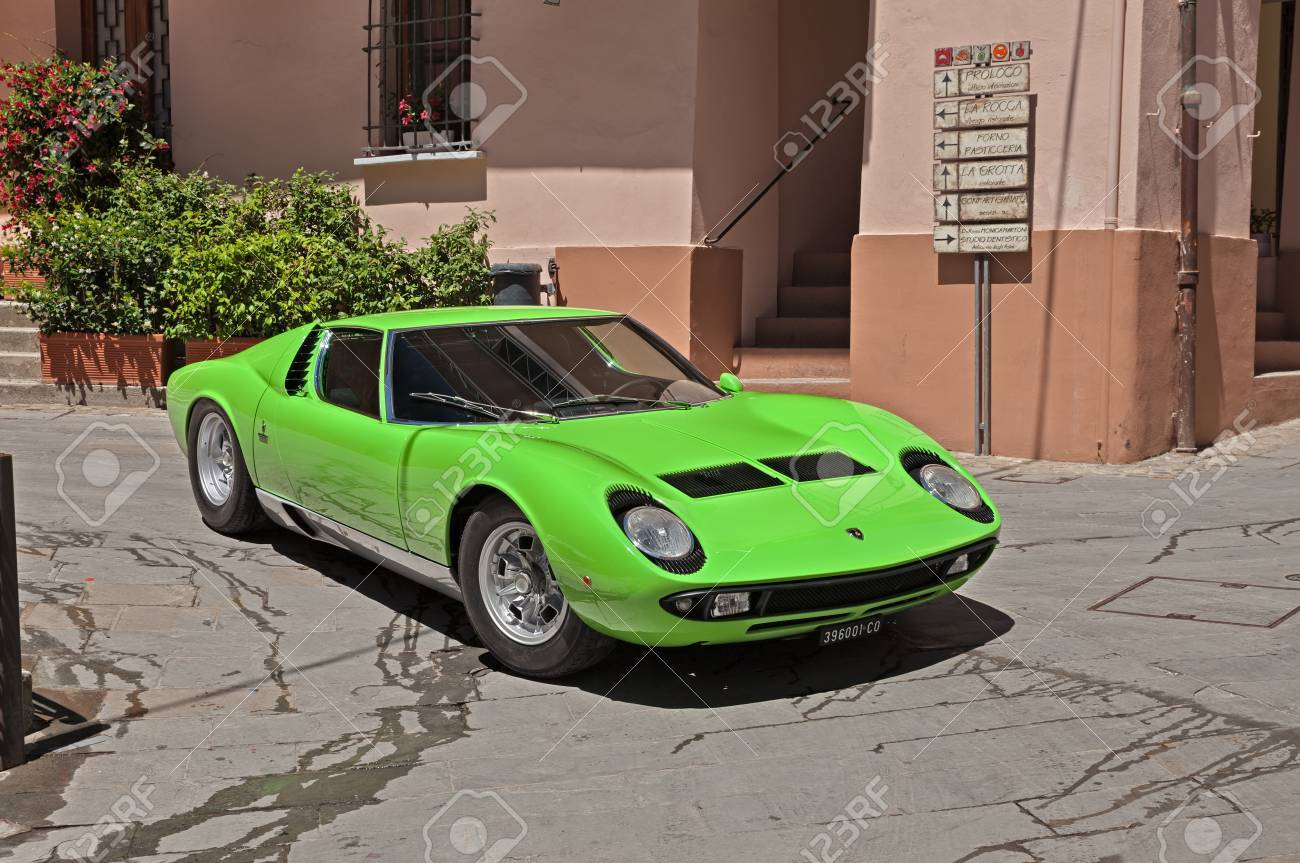 Vintage Sports Car Lamborghini Miura Of The Sixties In Rally Stock