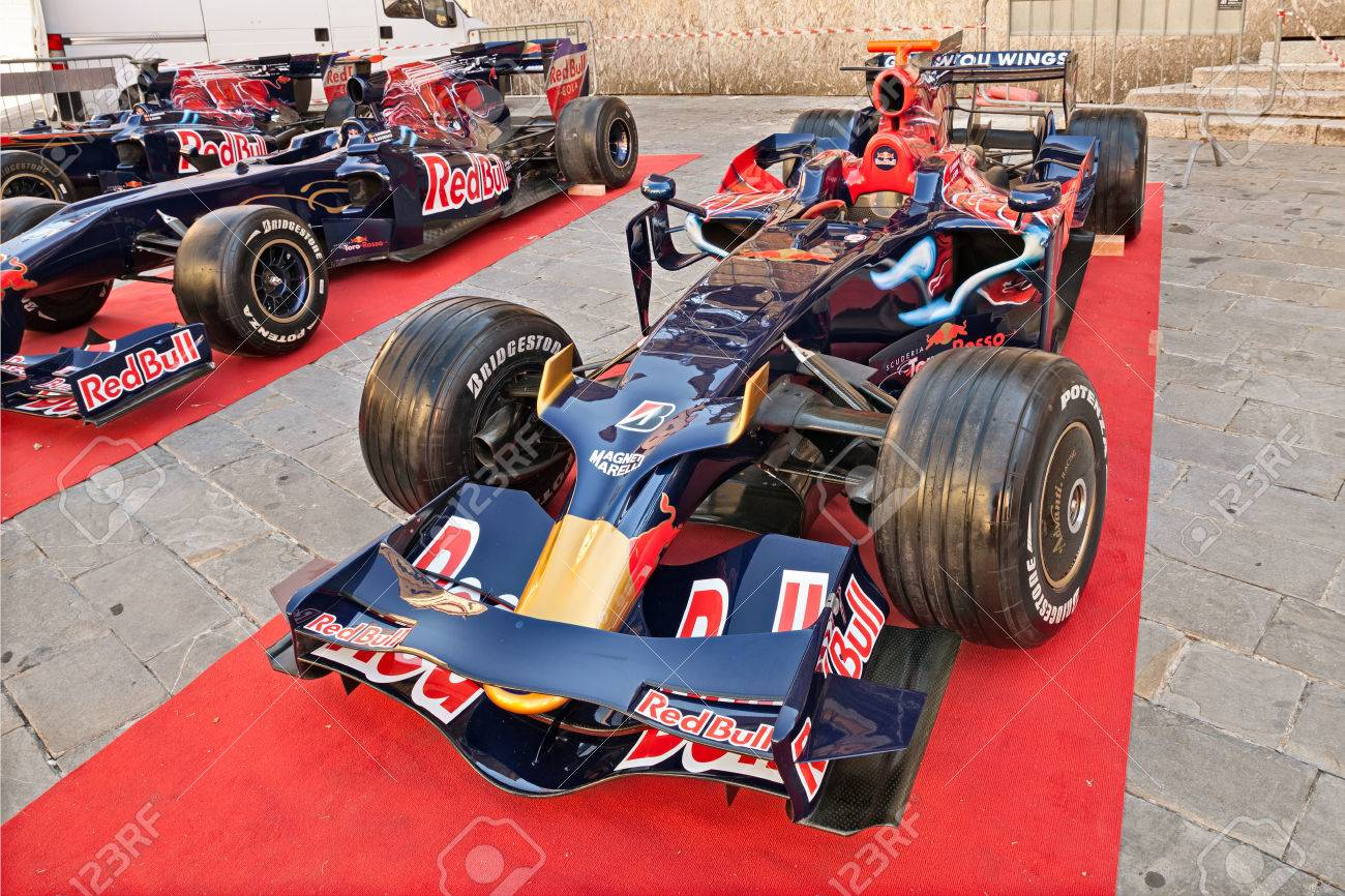 """the Formula One racing car Toro Rosso STR3, It was driven by S. Vettel to victory in the Italian Grand Prix 2008, exposed during the meeting """"Trofeo Lorenzo Bandini"""", on July 17, 2016 in Brisighella, RA, Italy - 60044979"""