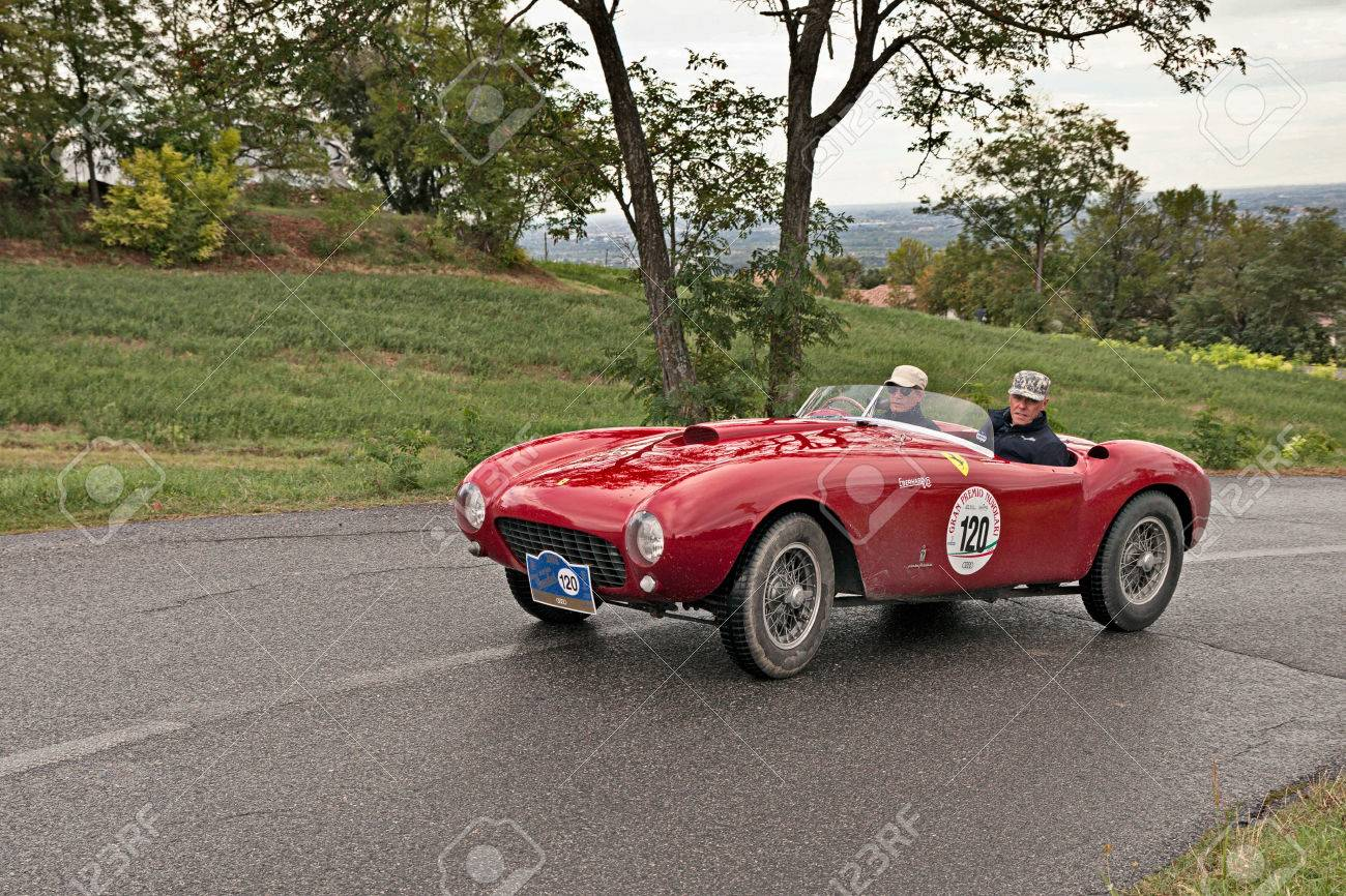 Driver And Co-driver On A Vintage Racing Car Ferrari 375 MM ...