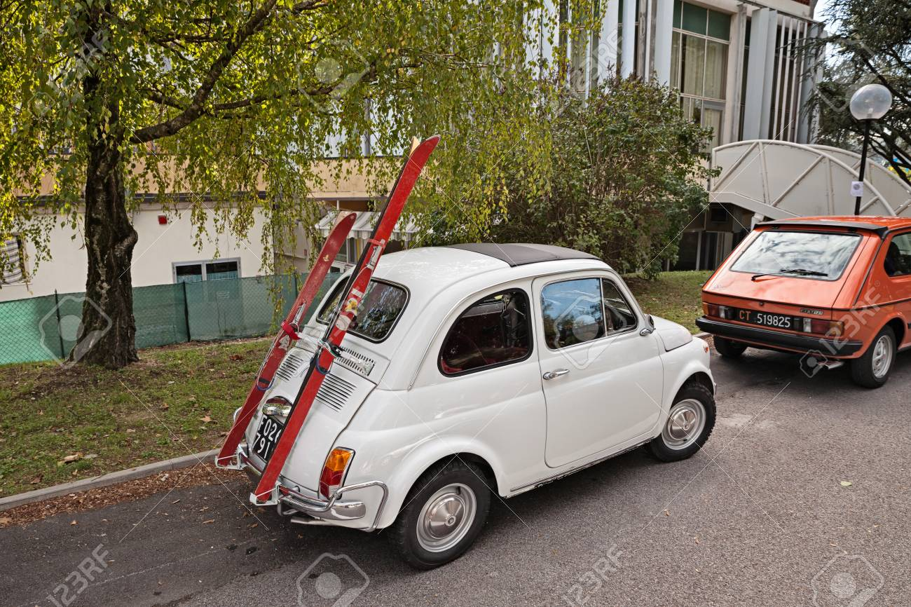 Vintage Fiat 500 With Ski-rack In Classic Car Rally -Citta Di ...