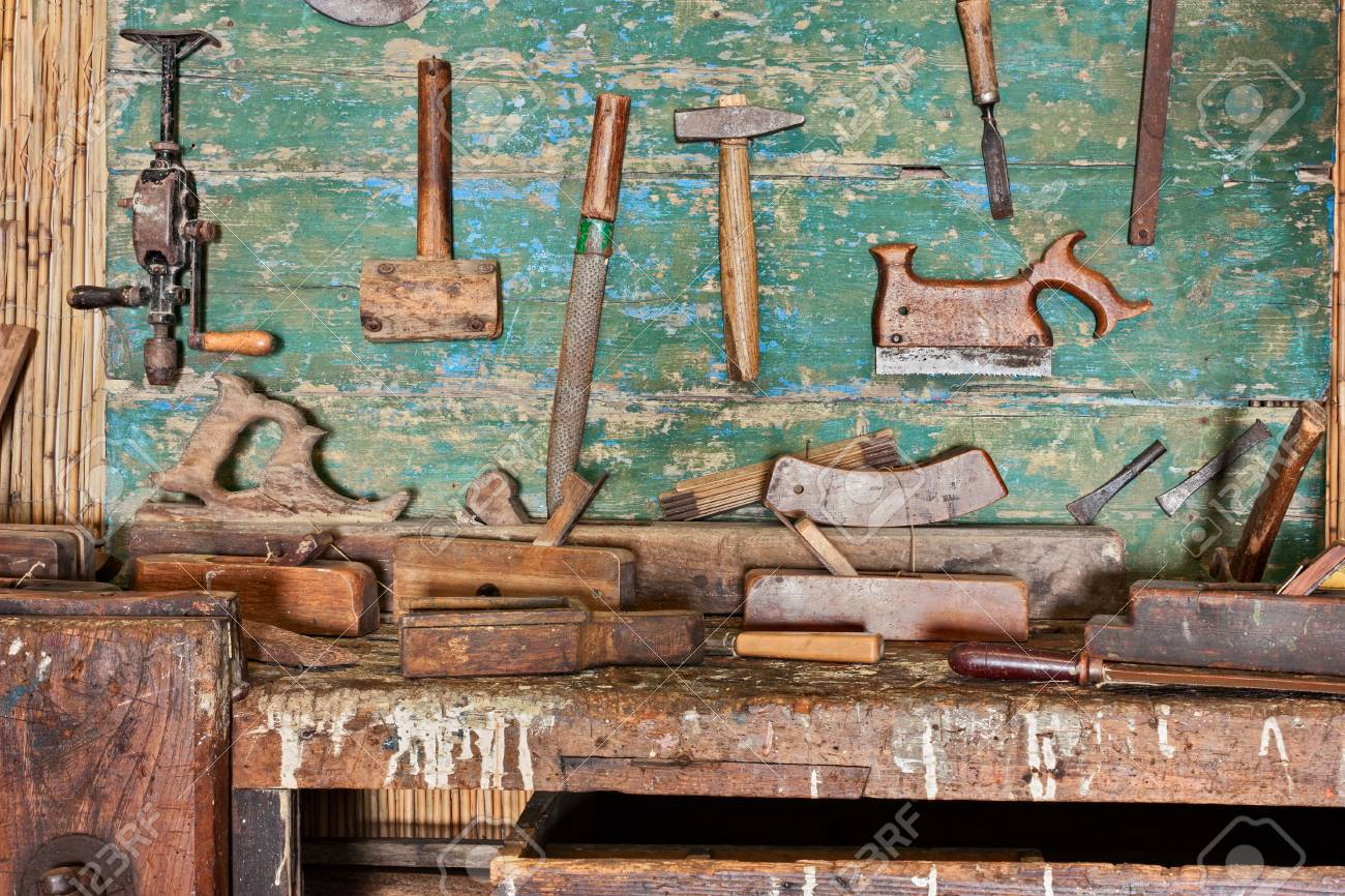 Woodworking Tools Of An Ancient Carpentry Old Bench Of Craftsman