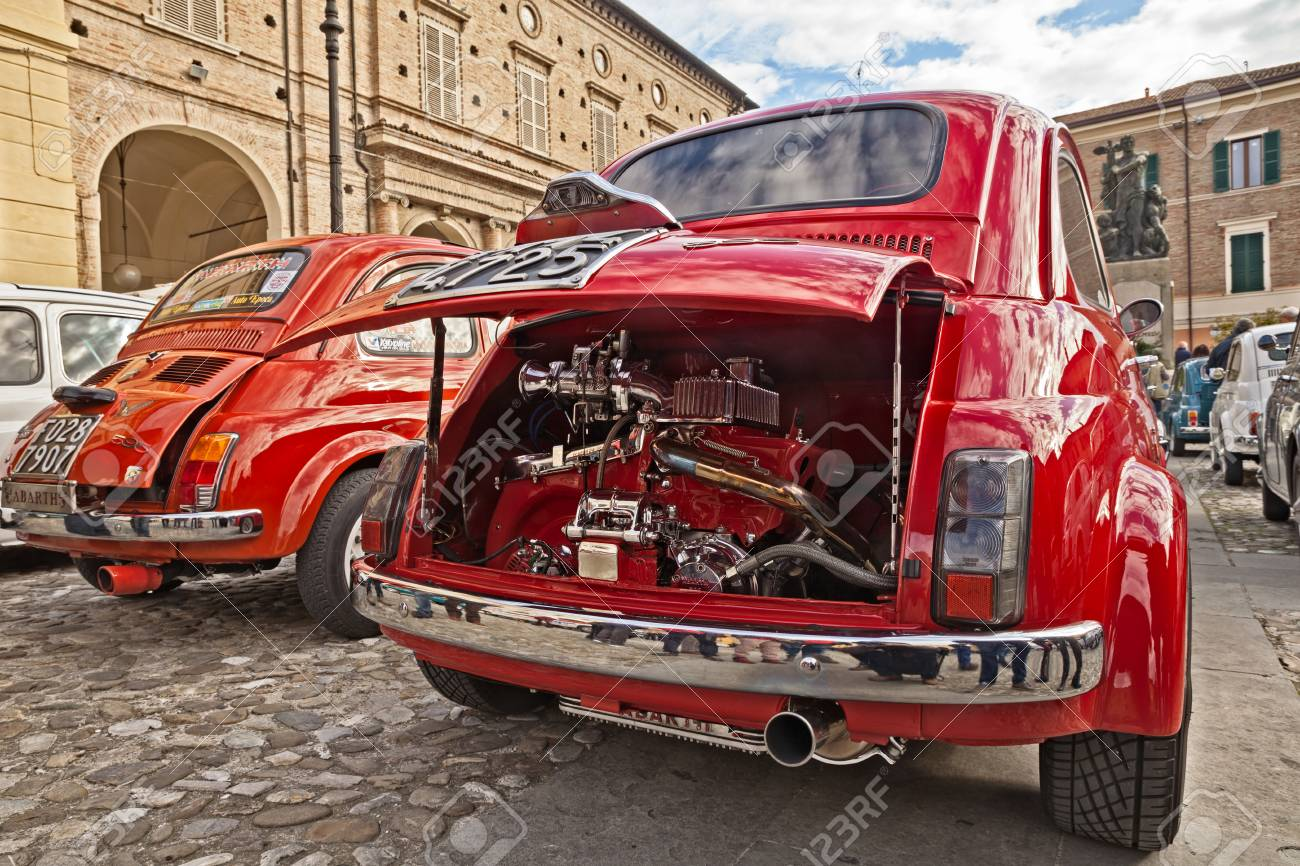 Vintage Italian Car Fiat 500 With Tuning Chromed Engine Abarth