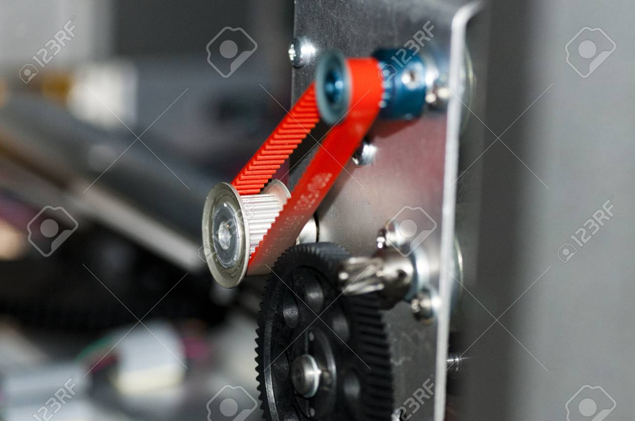 Detail Of A Gear With Timing Belt Color Red Stock Photo Picture 38925416