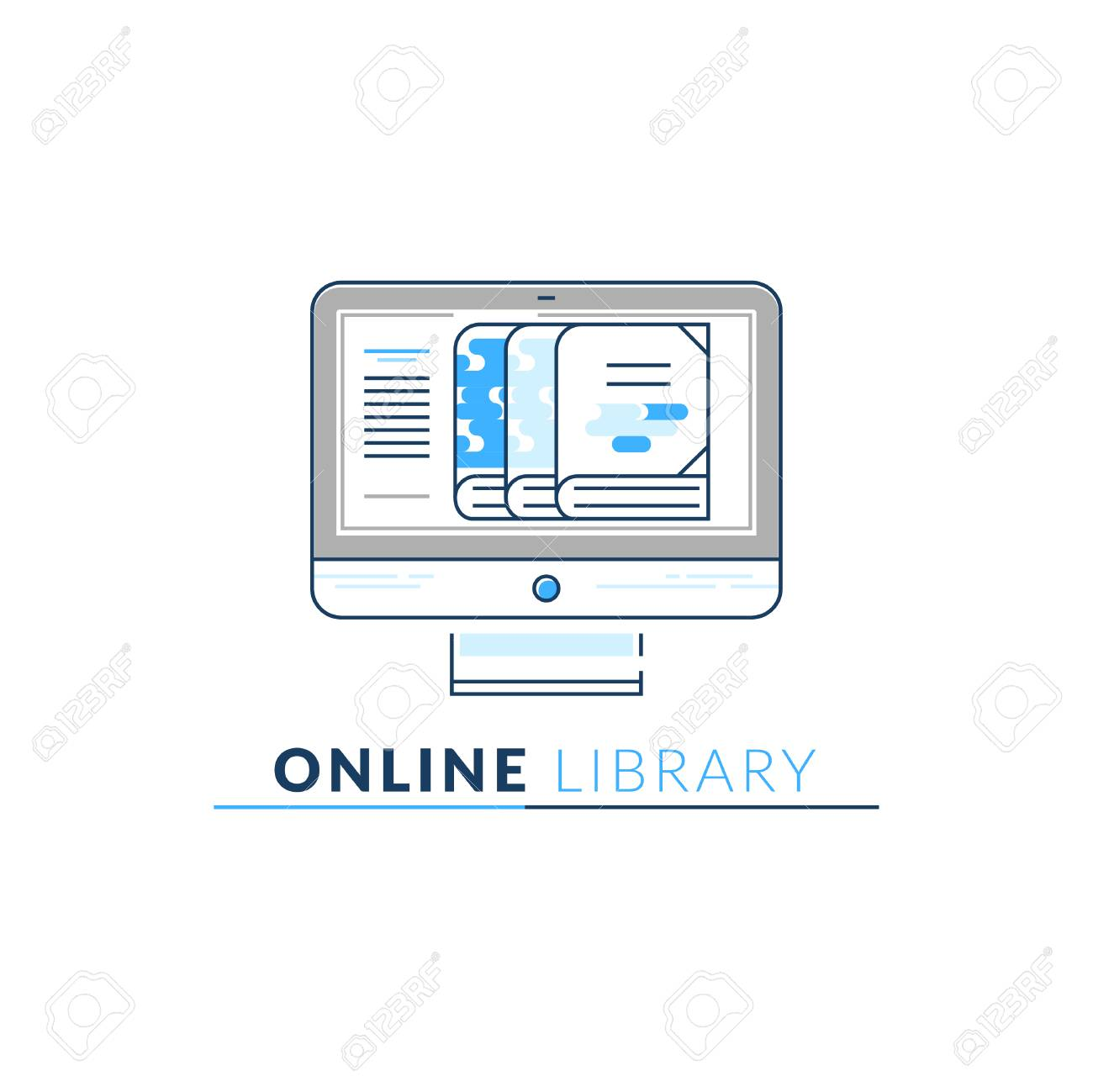 Vector Icon Style Logo of Online Library, Storage, Epub, Txt,